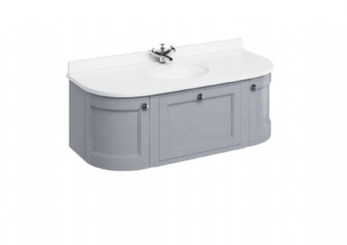 Burlington Wall Hung Classic Grey 134 Curved Vanity Unit With Drawers & Doors - Worktop Options